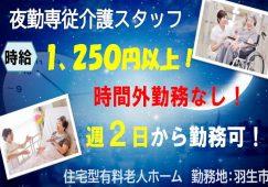 【羽生市】住宅型有料老人ホームの夜勤専従の介護スタッフ【JOB ID:987-1-ca-yp-ms-nor】 イメージ